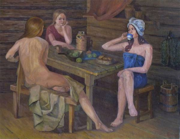 что держит женщина на картине в бане скоростной