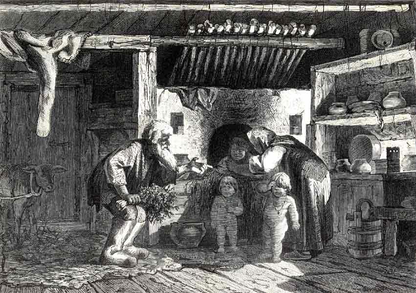 Мытье в печке. Гравюра А.И. Зубчанинова по рисунку П. Е. Коверзнева. Начало 1880-х гг.
