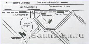 """Схема проезда к сауне """"Лотос"""""""